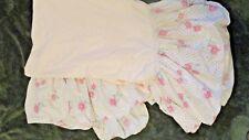 Full Size Beige Flowered Ruffled Bed Skirt