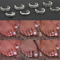 8Pcs/Set Vintage Silver Toe Ring Adjustable Opening Ring Foot Jewelry Women Gift