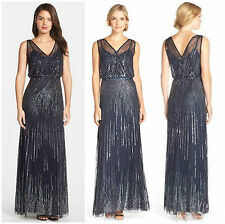 Adrianna Papell New Womens Navy Mesh Sleeveless Wrap Front Beaded Gown 10  $370