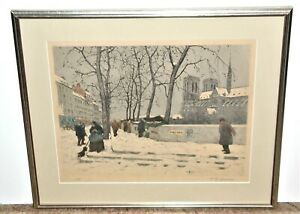 T.F. Simon Signed Color Etching of Paris in the Winter