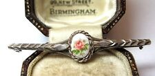 VINTAGE SOLID SILVER & ENGLISH GARDEN PINK ROSE CAMEO JEWELLERY BAR BROOCH PIN