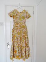 1970s Orange, pink, grey and yellow floral vintage dress size 10