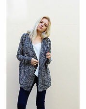 Lady's Knitted Black Dark Grey Waterfall Draped Cardigan Jacket Coat Knitwear