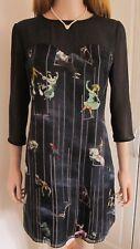 TED BAKER ~Circus Print~ Dress UK 10 2 Party Wedding Black Beaded Ballerina Bird