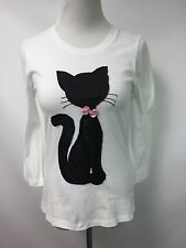 Michael Simon Women's Short Black Cat Bow TShirt Top Long Sleeve Sz XS White