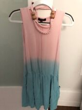 Imoga Girls Pink/Blue Dress with matching Necklace Size 6