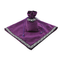 Tarot Cards Drawstring Pouch Velvet Table Cloth Divination Tapestry Purple