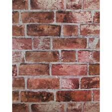 WALLPAPER BY THE YARD Red Brick Wallpaper | Embossed Textured Vinyl Bricks Stone