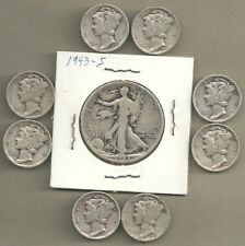 "Walking Liberty Half & Mercury Dimes - 90% Silver Lot - #4571, 9-""S"" Mint Coins"