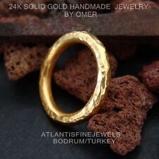 HAND FORGED HANDMADE STACK RING 24K YELLOW GOLD OVER STERLING SILVER BY OMER