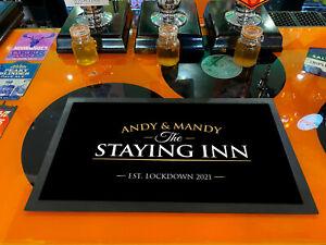 Personalised Bar mat - Staying Inn - Gold & Black Bar runner - Beer mat