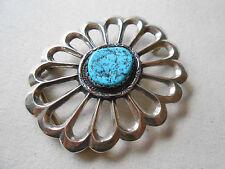 Vintage Southwest Sterling Silver Turquoise Signed Belt Buckle   686801