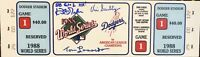 SIGNED 1988 WORLD SERIES MEGA TICKET DODGERS SCULLY GIBSON LASORDA BAS JSA AUTH