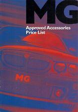 MG Accessori Listino prezzi 2002-03 Regno Unito Mercato Opuscolo ZR ZS ZT ZT-T TF