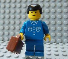 LEGO Classic Town Citizen Minifig Blue Suiit & Black Hair w/ Briefcase Suitcase