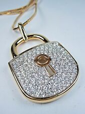 """Swarovski Crystals - 24"""" Length 0904 D'Orlan Gold Plated Large Lock Pendant with"""