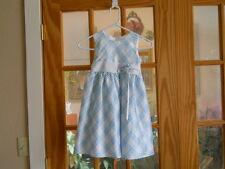 Vintage CHEROKEE Girls Size 6 Blue White Sleeveless Dress Summer Party Bow