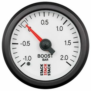 Stack Mechanical Turbo Boost Pressure Gauge -1 To +2 Bar White Face 52mm 3161