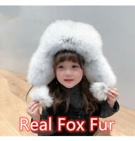 Kids Female Real Fox Fur Russian Ushanka Hats Aviator Trapper Hunter Ski Cap