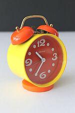 Vintage 70's Bessings West Germany MOD Wind Up Alarm Clock Yellow&Orange BOLD!
