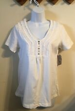 (NWT) Laura Scott Ladies Size Small Core White Short Sleeve Top Retails @$30.00