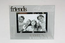 Luxury Frosted Glass / Special Topic Photo frame - 'Friends' - 4x6 inch/10x15 cm