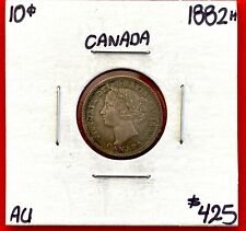 1882 H Canada Silver 10 Cent Dime Coin - AU - Amazing Toning!