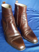 "Women's Leather Boots Brown Italy Size 7 N Empress 2"" Wood Block Heels Zippered"
