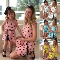 Women Girls Family Matching Clothes Mother&Daughter Sleeveless Dresses Outfits