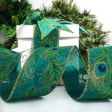NEW QUALITY CHRISTMAS RIBBON PEACOCK FEATHER WIRE EDGED CRAFT  GIFT WRAPPING
