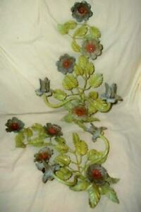 ITALIAN TOLE CANDLE SCONCES FLORAL FRENCH FARMHOUSE CHIPPY ORIGINAL BLUE GREEN