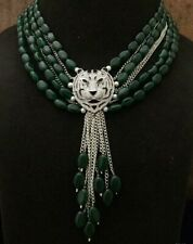 Bollywood Silver Plated Indian Chain Necklace jewelry wedding Green Choker Set