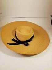 Vintage Woven Garden Women's Hat - Black Bow - Chin Strap