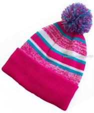"Women's Cuffed Beanie Lined Knit Hat With Pom-Pom Hot Pink 12"" inch long"