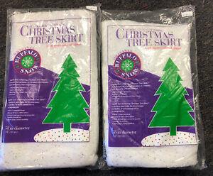 "2 Flame Retardant Multi Sparkl-Tex Glitter Christmas Tree Skirt Buffalo Snow 58"""