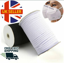 3mm Elastic Cord SOFT BLACK WHITE Elastic For Sewing Face Mask Crafts Bands UK