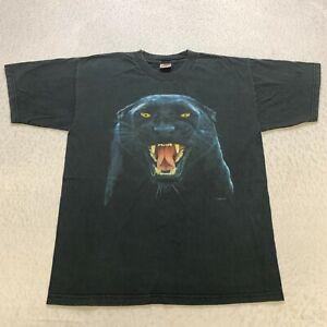 Vintage Black Panther Human I T-Shirt Size L Black Graphic Animal Wildlife Mens