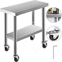 "30""X12"" Kitchen Work Table with Wheels Commercial Food Prep Stainless Steel"