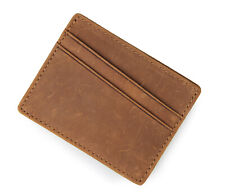 Luxury Brown Credit Card Holder Made with Genuine Suede Leather