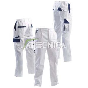 Pantalones Largo Blanco de Trabajo Múltiples Bolsillos aerre Con Para Pintores