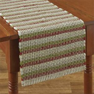 """Park Designs Cotton Chindi Table Runner 13"""" x 36"""" Green Red White Christmas"""