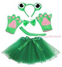 Halloween Party Xmas Green Frog Headband Paw Tail Bow Gauze Skirt Girl Costume
