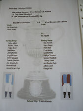 1886 FA Cup Final replay Blackburn Rovers v West Bromwich Albion matchsheet