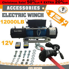 Campike 12V 12000LBS Electric Winch 24M Synthetic Rope Wireless Remote 4WD 4x4