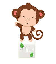 Monkey and Leaves Light Switch Wall Sticker Children's Bedroom Playroom Fun