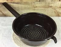 Vintage Brown Graniteware Enamelware Strainer Colander with Long Handle