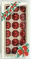 Vintage Pyramid Rauch Glass Ball Christmas Ornaments Red Box Of 18 USA
