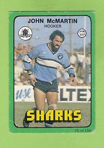 1978   CRONULLA  SHARKS SCANLENS RUGBY LEAGUE CARD #75 JOHN McMARTIN