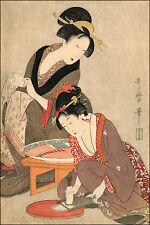 Japanese Art Print: Woman Preparing Fish (Sashimi): Utamaro Reproduction
