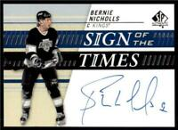 2019-20 UD SP Authentic Sign of the Times Auto #SOTT-BN Bernie Nicholls